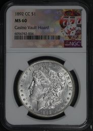 1891 CC Morgan Silver Dollar NGC MS 61- Holder