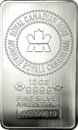 10 oz. - Royal Canadian Mint Silver Bars - Obverse