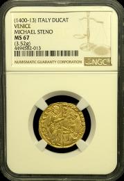 1400-1413 Venetian Ducat NGC MS 67 - In Holder