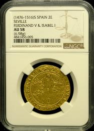 Ferdinand & Isabel Spanish 2 Escudo NGC AU 58