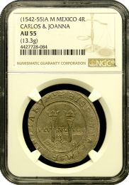 1552-1555 Carlos & Joanna Four Reale NGC About Unc. 55
