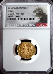 1714 Mexican 2 Escudo NGC MS 63