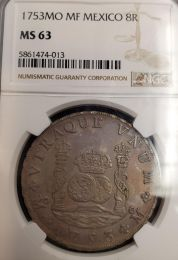 1753 Mexican 8 Reale NGC Mint State 63