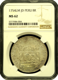 1754 Peruvian 8 Reale MS 62 - In Holder