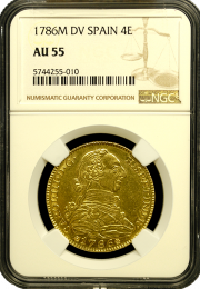 1786 Spanish Gold 4 Escudo - In Holder