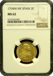1794 Spanish 2 Escudo NGC MS 62 - In Holder
