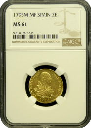 795 Spanish 2 Escudo NGC MS 61 - In Holder