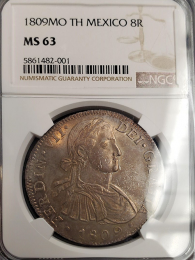 1809 Mexican 8 Reale NGC Mint State 63 - Holder