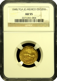 1848 Mexican Escudo NGC AU 55 - In Holder