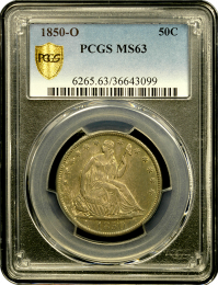 1850-O Seated Half Dollar PCGS MS63