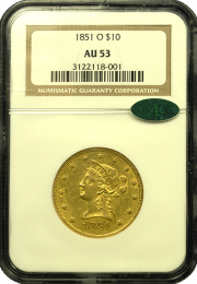 1851 O $10 Gold Liberty AU - In Holder