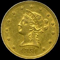 1851 O $10 Gold Liberty AU - Obverse