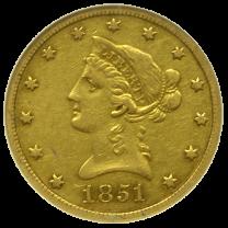 1851 O $10 Gold Liberty XF - Obverse
