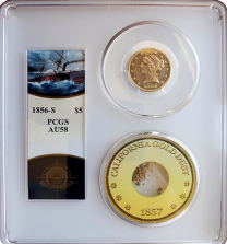 1856 S $2.5 Liberty PCGS AU 58
