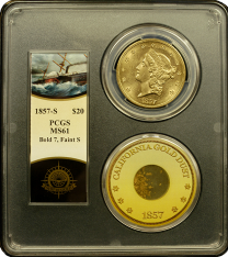 1857-S $20 Liberty PCGS MS-61 - Ship of Gold