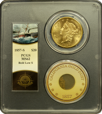 1857-S $20 Liberty PCGS MS-62 - Ship of Gold
