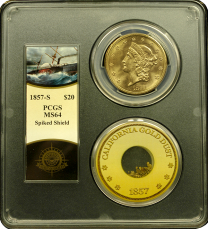 1857-S $20 Liberty PCGS MS-64 - Ship of Gold