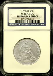1854-O S.S. Republic Seated Liberty Half Dollar - Holder