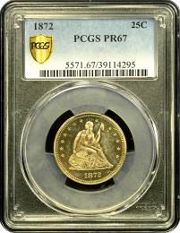 1872 Seated Quarter Dollar PCGS PR67