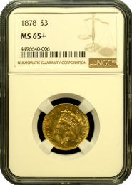 1873 $3 Princess NGC MS 65 Plus