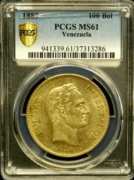 1889 Gold Venezuelan 100 Bolivares - In Holder