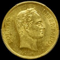 1889 Gold Venezuelan 100 Bolivares - OBV