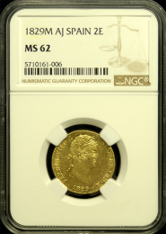1829 Spanish 2 Escudo NGC MS 62 - In Holder