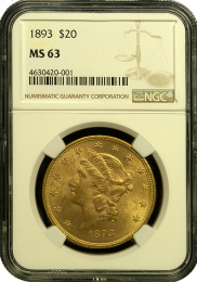1893-P $20 Liberty Gold Coin NGC Mint State 63