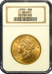 1897 S $20 Liberty Gold Coin NGC Mint State 63