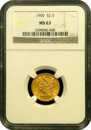 $2 1/2 Liberty Gold Coin NGC/PCGS MS-63 - In Holder