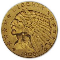 $5 Indian Gold Coin - About Uncirculated Condition