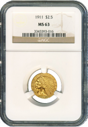 $2 1/2 Indian Gold Coin NGC/PCGS MS-63 - In Holder