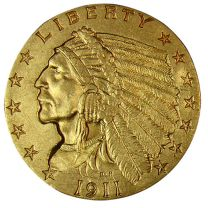 $2 1/2 Indian Gold Coin - About Uncirculated Condition