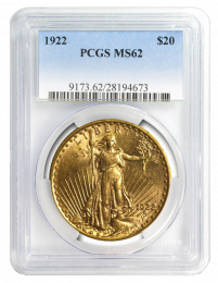 $20 Saint-Gaudens Gold Coin NGC/PCGS MS-62 - In Holder