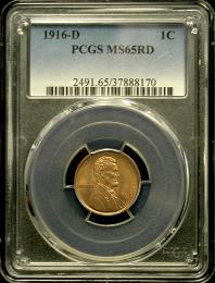 1916 D 1 Cent PCGS MS 65