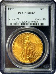 $20 Saint-Gaudens Gold Coin NGC/PCGS MS-65