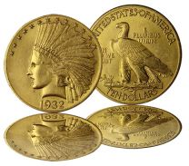 $10 Indian Gold Coin - About Uncirculated Condition