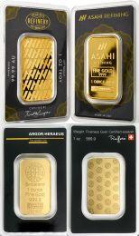 Asahi and Argor Heraeus 1 oz. Gold Coins in Cases