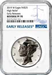 2019-W American Eagle Palladium Reverse Proof NGC 70