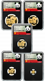2019 5-Coin Mint State-70 China Gold Panda Set