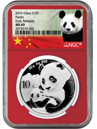 2019 China Silver Panda NGC Red Core Early Release MS-69