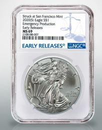 "2020-P ""Emergency Issue"" Silver American Eagle MS-69 Quality"