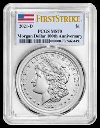 2021- D Morgan Silver Dollars Certified MS70 (Denver Mint) Obverse