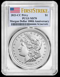 2021-CC Morgan Silver Dollar PCGS MS-70 First Strike - OBV
