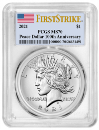 2021 Peace Silver Dollar PCGS MS-70 First Strike - Obverse