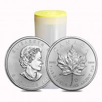 Roll of 25 - 2018 1oz. Canadian Maple Leaf Silver Coins
