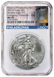 "2020-P ""Emergency Issue"" Silver American Eagle MS-70"