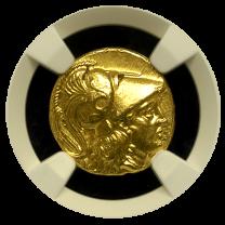 Alexander III Gold Stater NGC AU 5x3 Lifetime EP