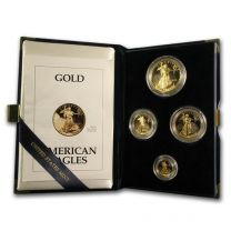 Four Coin Proof Gold Eagle Sets in Original Gov't packaging (various dates)