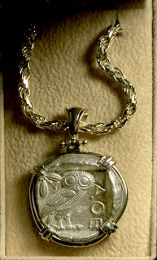 Authentic 2,450 Year-Old Athenian Owl in Bezel